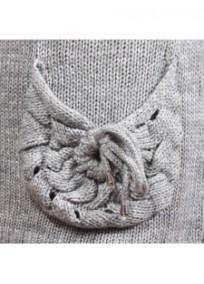 pull grande taille - pull maille ajourée avec ceinture tressée amovible (détail poche)