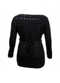pull grande taille - pull maille ajourée noir avec ceinture tressée amovible (dos)