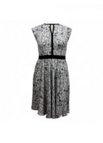 robe grande taille - robe fleurie fond crème avec motifs fleuris noirs et gris Blue Chameleon (face)